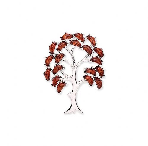 Sterling Silver Orange Amber Tree Of Life Brooch